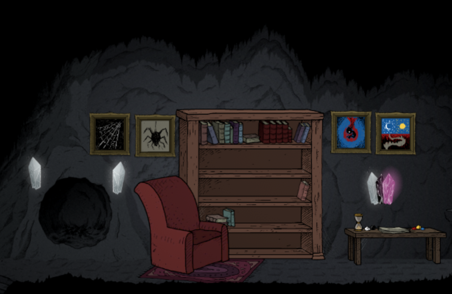 """Virtual Background, a dark cave from """"The Longing"""" game."""