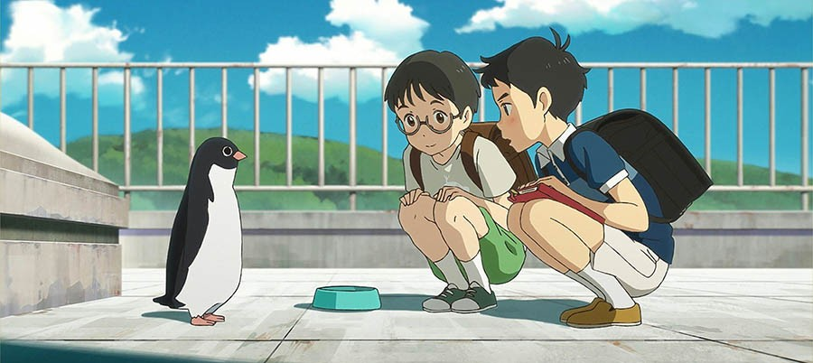 """Scene from the Anime """"Penguin Highway"""", two 10 year old boys crouch in front of a penguin on a roofboy."""