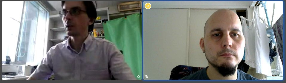 Two nerds co-working in a video call